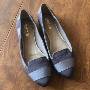 Sperry Gray Striped Flats Size 7.5